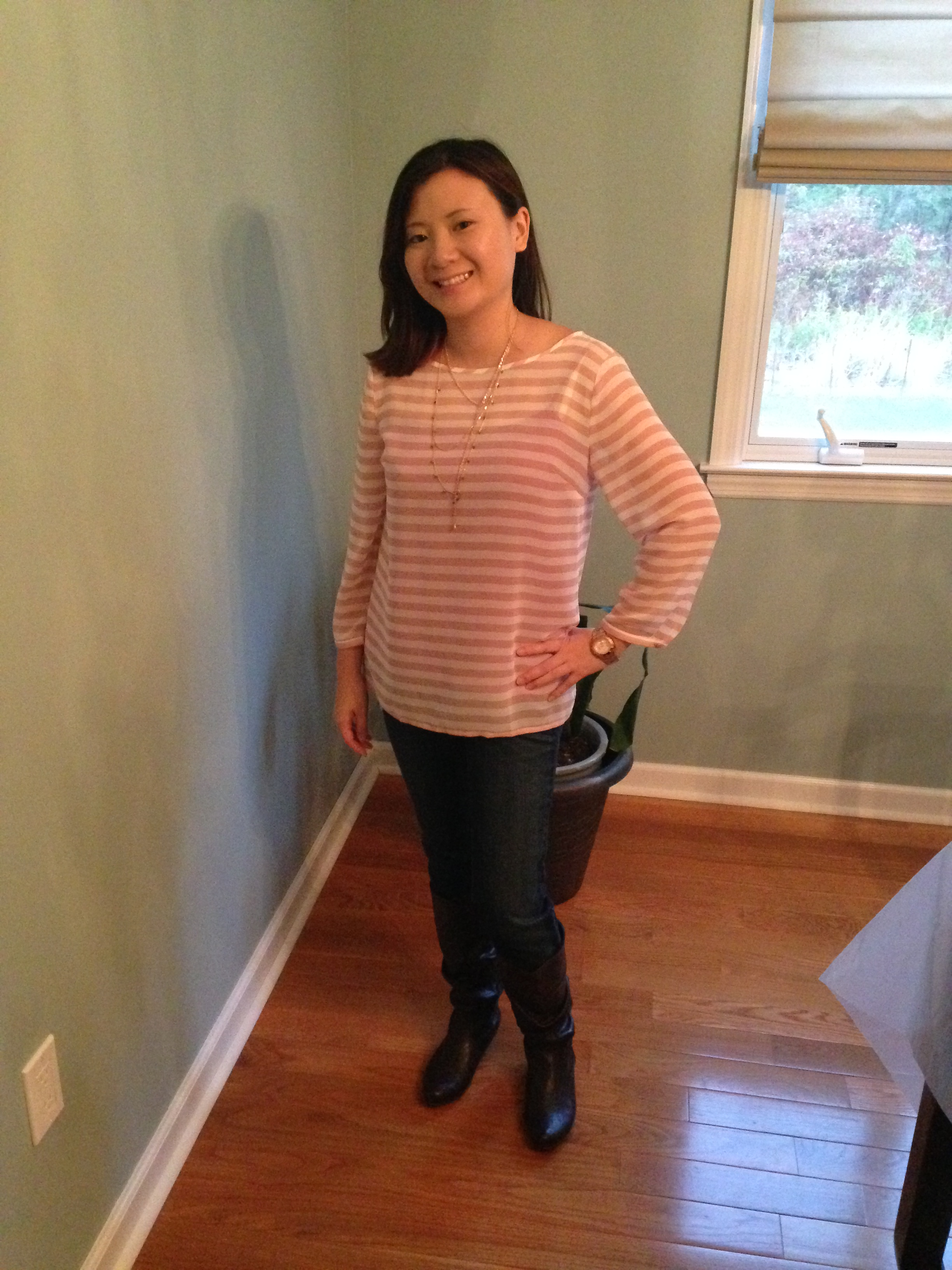 Pink Stripes & Layered Necklace OOTD