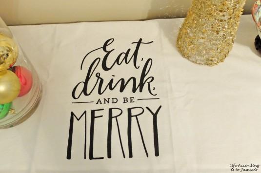Eat Drink & Be Merry Tea Towel