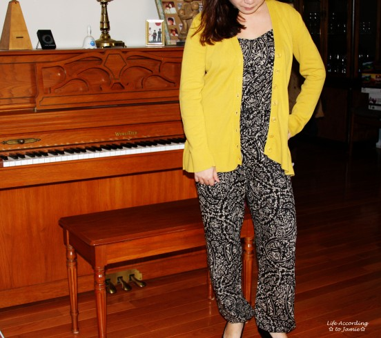 Printed Jumpsuit & Mustard Cardigan 3