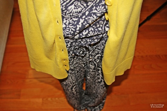 Printed Jumpsuit & Mustard Cardigan 5