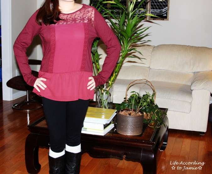 Red Lace Yoke Peplum 3