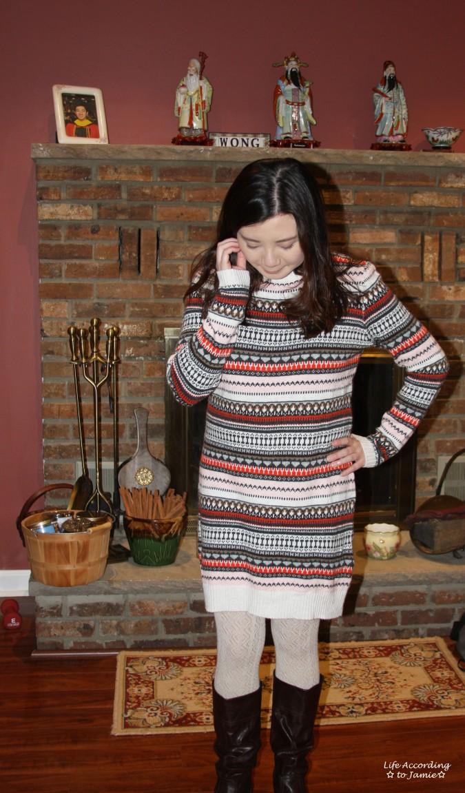 Jacquard Knit Sweater Dress 1