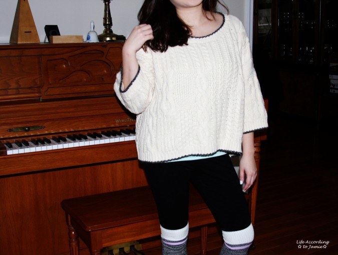 Oversized Cropped Knit Sweater 1