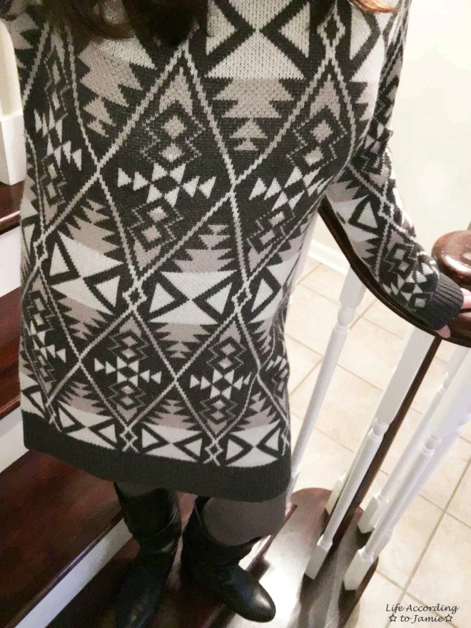 Aztec Print Sweater Dress