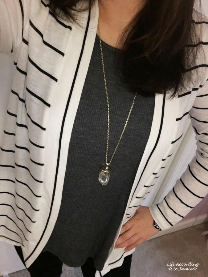 Stripes & Quartz Necklace