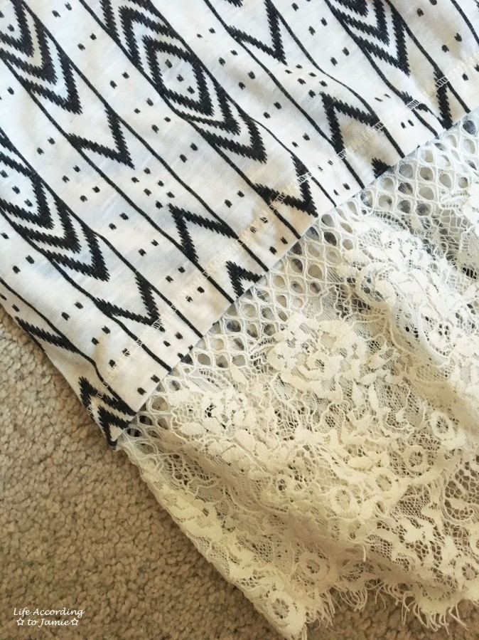 Black & White Lace Trim Tee
