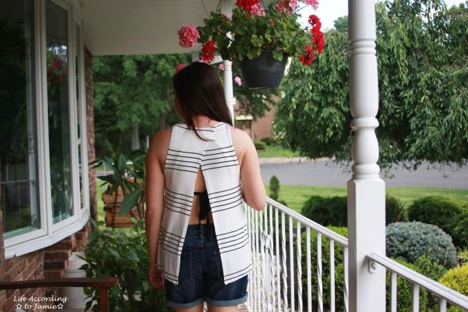 Striped Open Back Tank 1