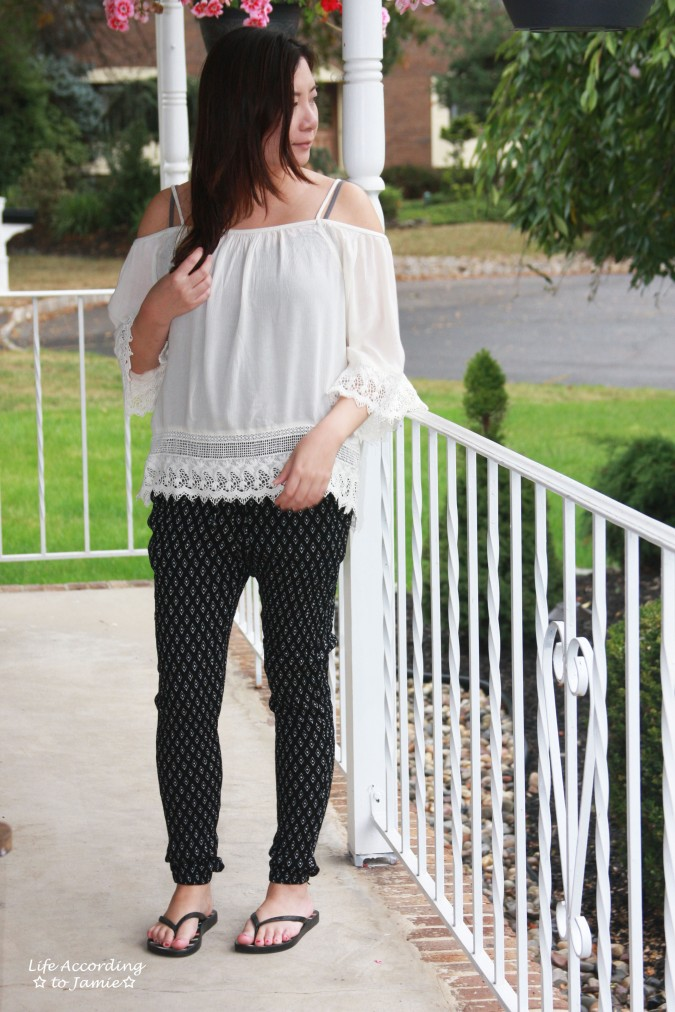 lace-off-the-shoulder-diamond-print-pants