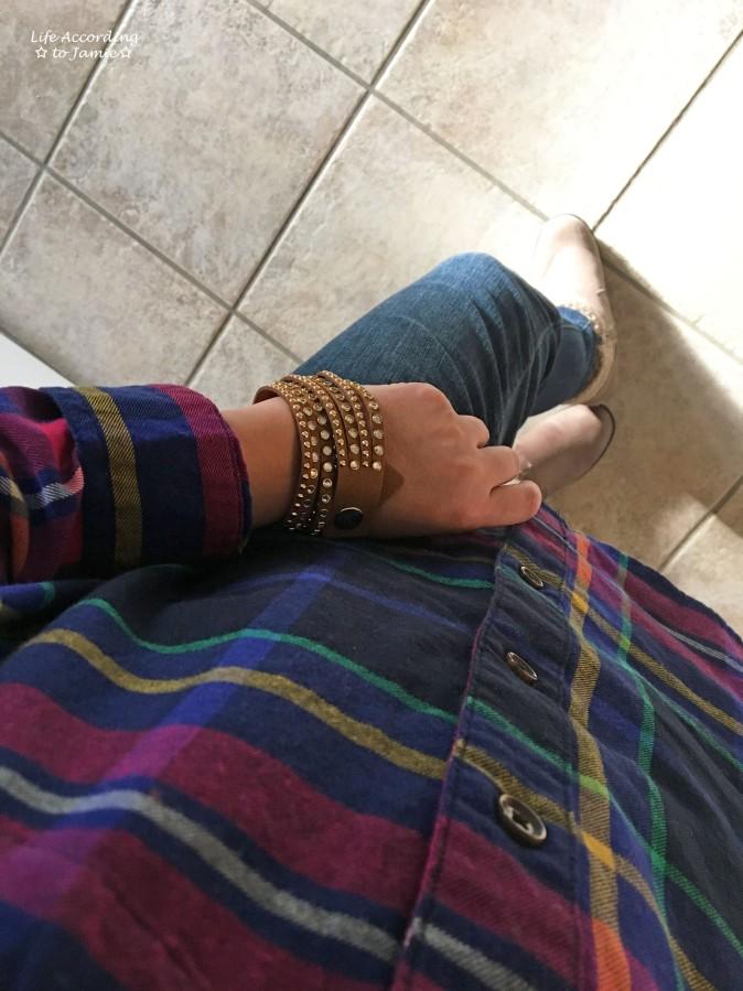 rainbow-plaid-saddle-stud-double-wrap-bracelet