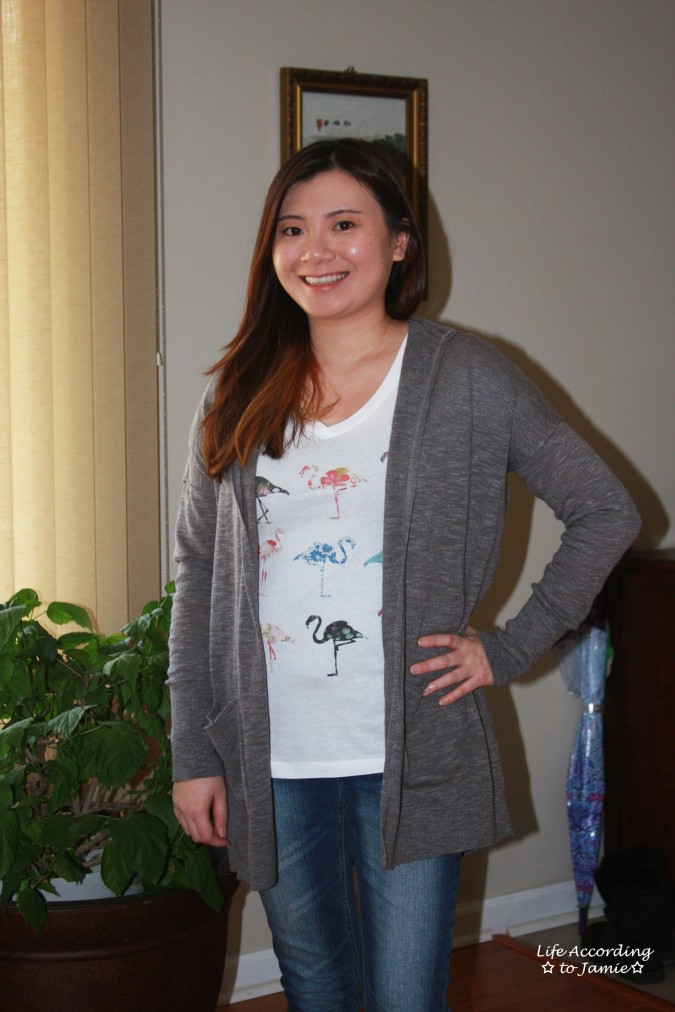 Hooded Cardigan + Flamingo Tee 3
