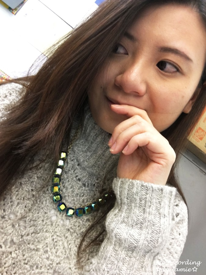 Mock Turtleneck Sweater + Block Necklace 1
