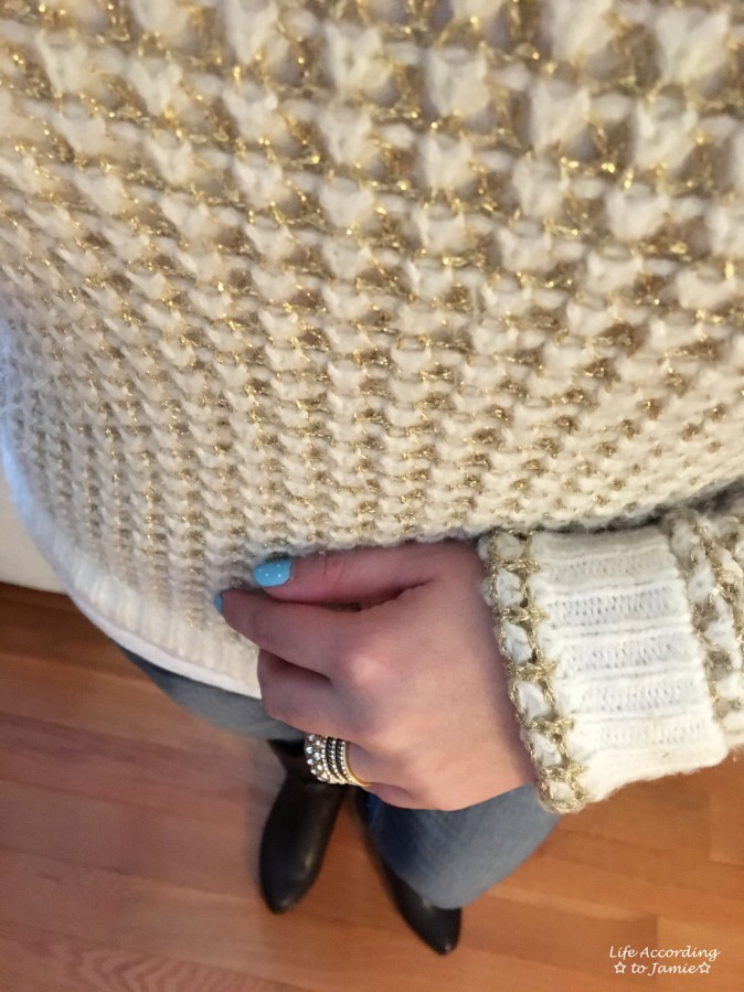 White & Gold Sweater + Gold Ring Stack 2