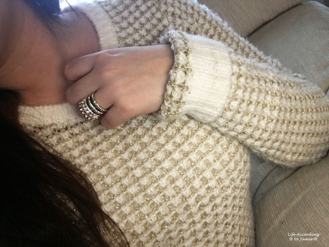 White & Gold Sweater + Gold Ring Stack 4