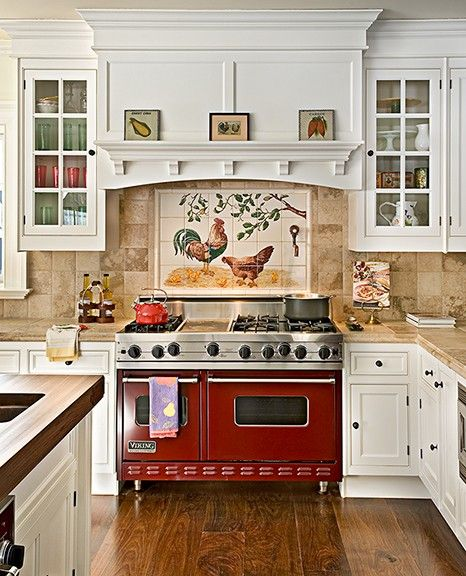 French Country Kitchen - Red Oven
