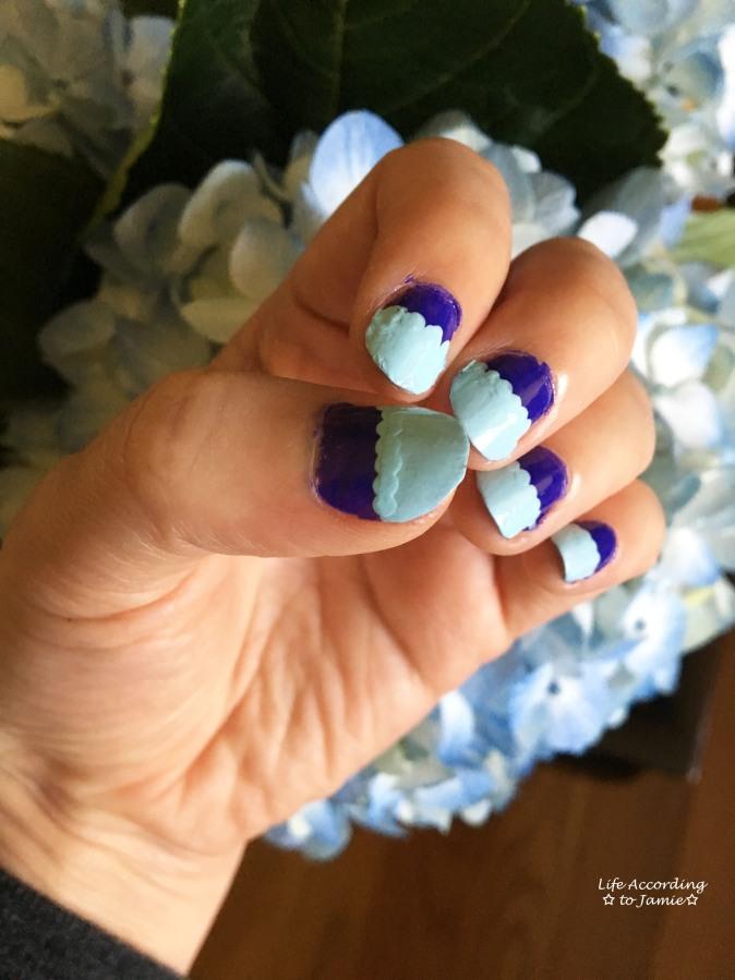 Mint & Purple Scalloped Nails 2