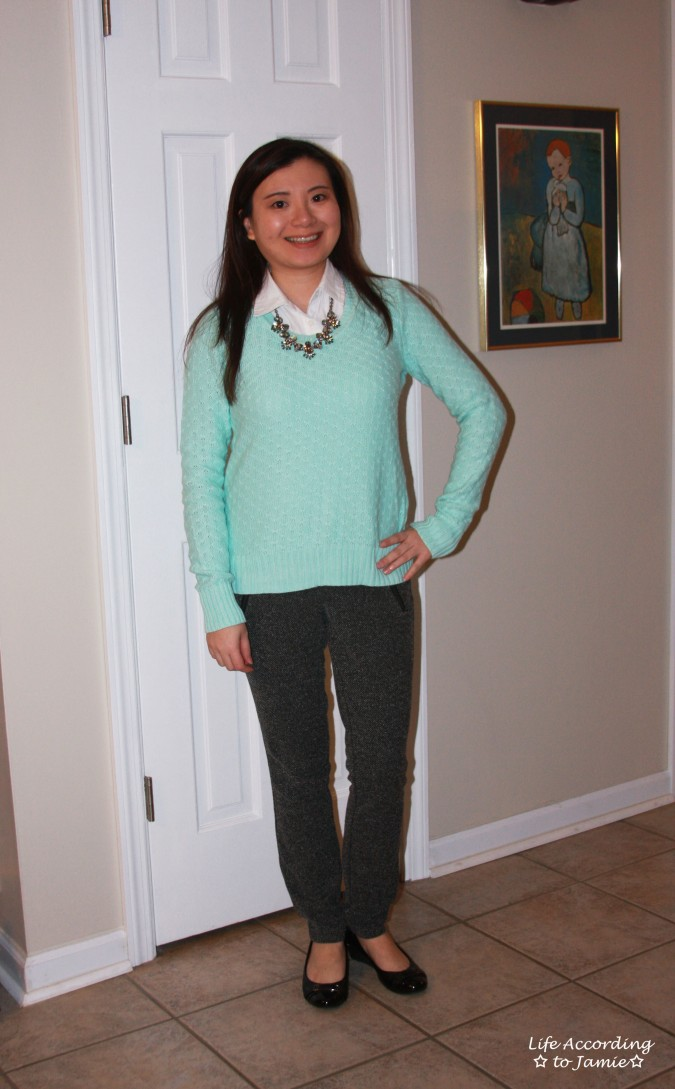 Mint Sweater + Statement Necklace 3