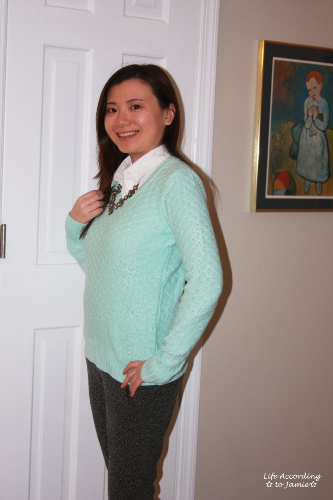 Mint Sweater + Statement Necklace 6