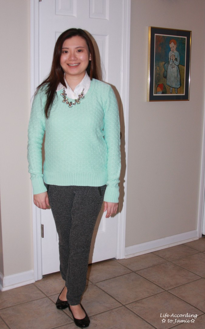 Mint Sweater + Statement Necklace 9