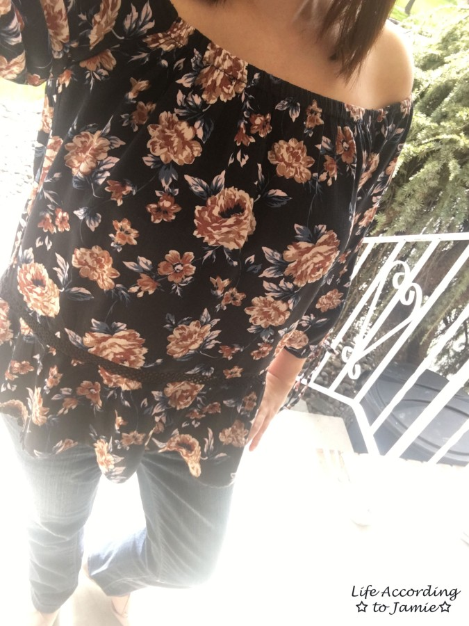 Dark Floral Off-the-Shoulder 1