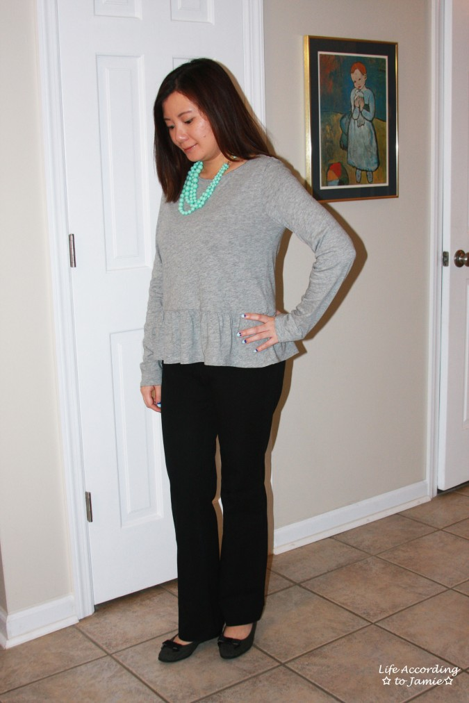 Grey Peplum + Mint Beads 1