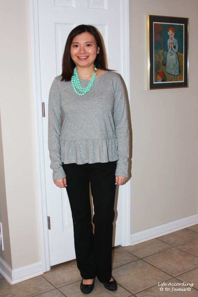 Grey Peplum + Mint Beads