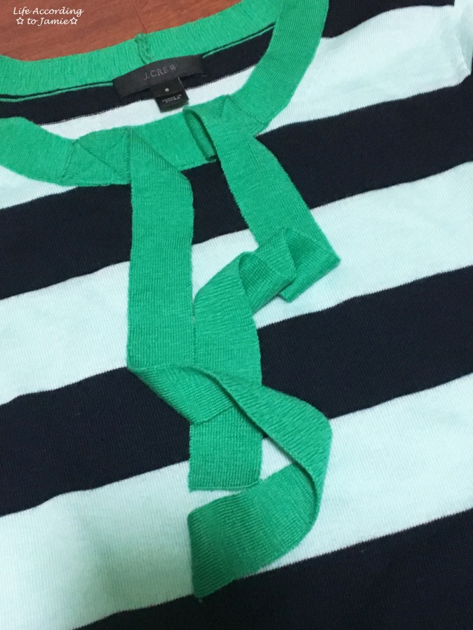 Mint + Navy Front Tie Shirt