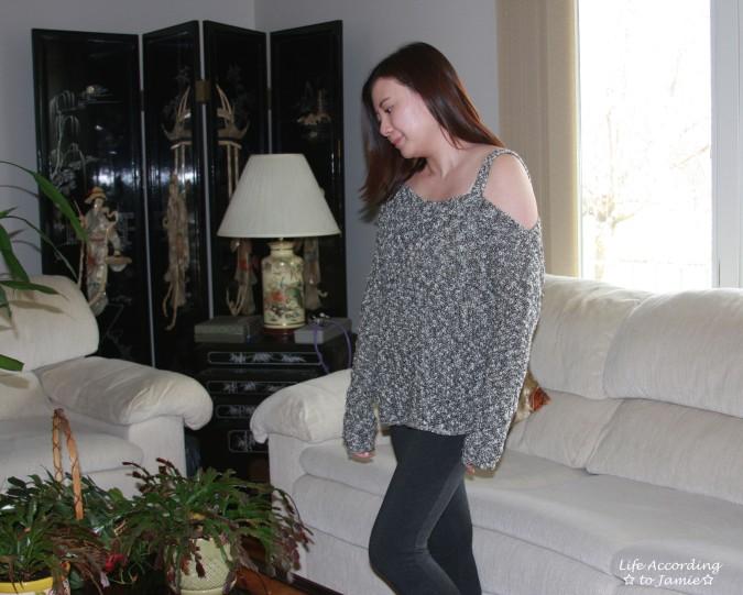 One-Shoulder Marled Sweater 1