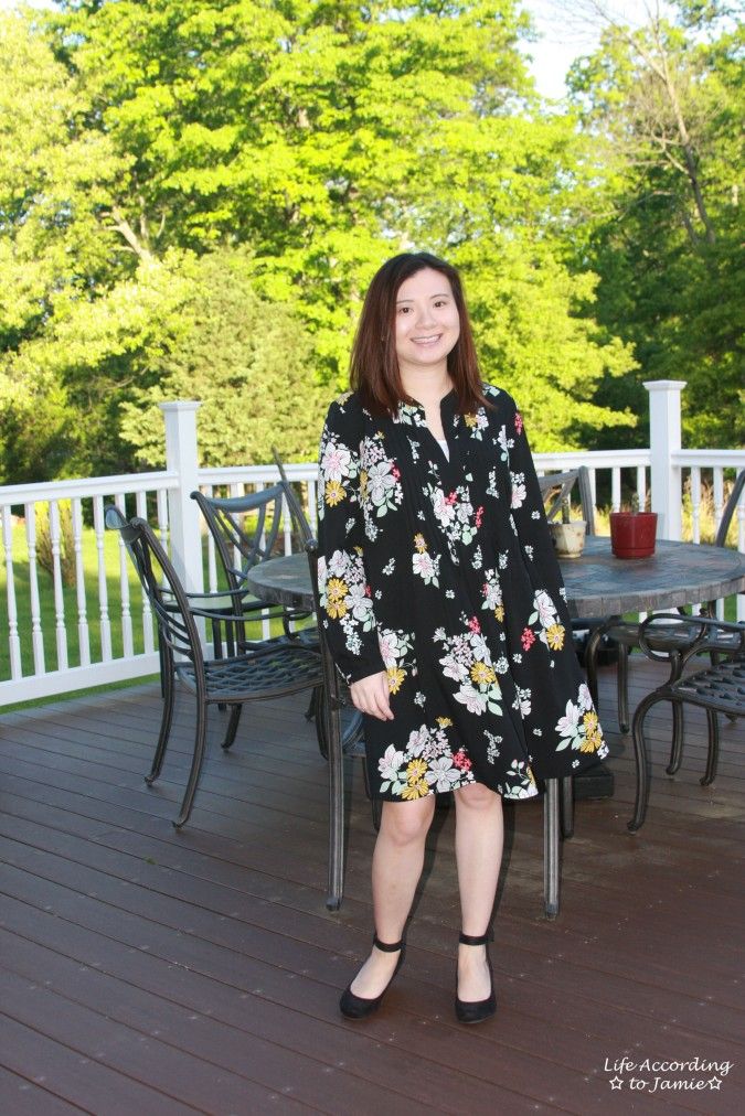 Dark Floral Shirt Dress 3
