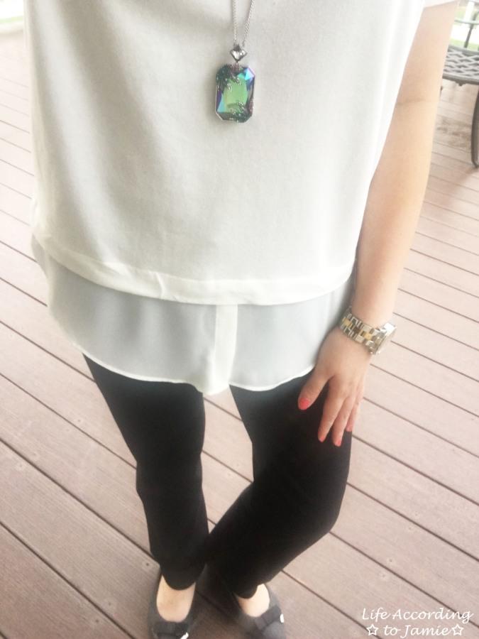 Layered Short Sleeve + Gisele Necklace 1