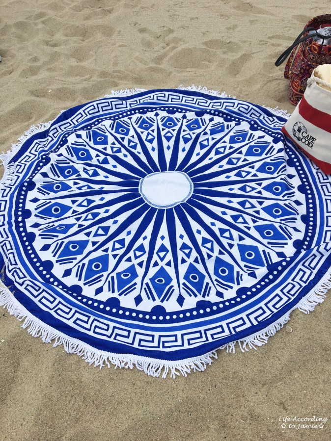 Blue + White Circle Beach Blanket 1
